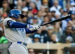 Carl Crawford drives in the game's first run for L.A.